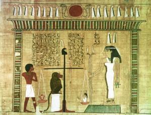V. 1450 Av.J.C. Detail du livre des morts. Peinture sur Papyrus au Musee du     Louvre dans la salle des Antiquites Egyptiennes. Paris, FRANCE.