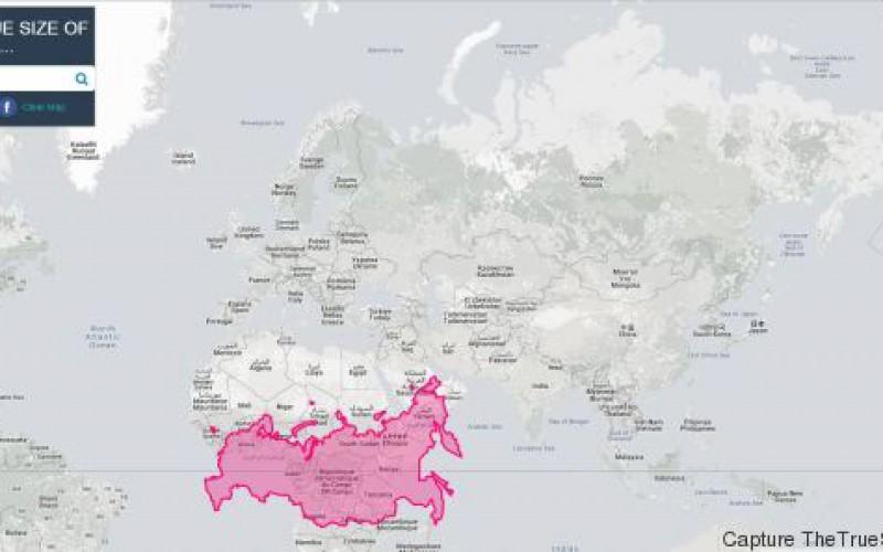 """Une carte du monde montre les pays à leur """"vraie"""" taille contrairement aux planisphères classiques"""