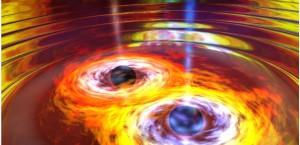 La fusion de deux trous noirs avec émission d'ondes gravitationnelles