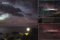Un ovni filmé de nuit au-dessus de la mer (Ile Maurice, le 13 mars 2016)